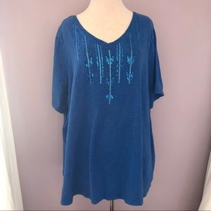Catherines Blue Cotton Short Sleeve Knit Top